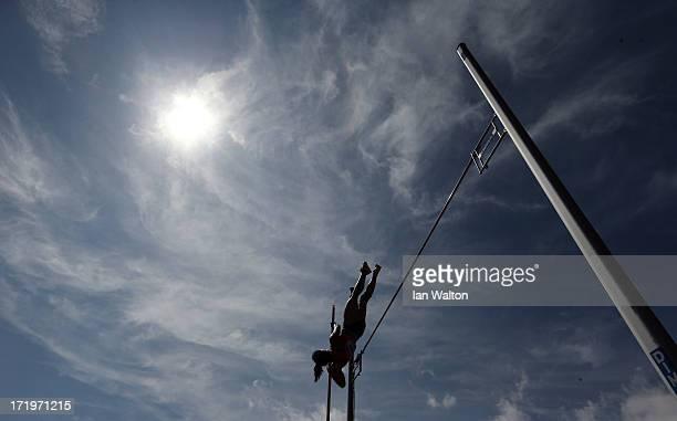 Yarisley Silva of Cuba competes in the women's Pole Vault during the IAAF Diamond League at Alexander Stadium on June 30 2013 in Birmingham England