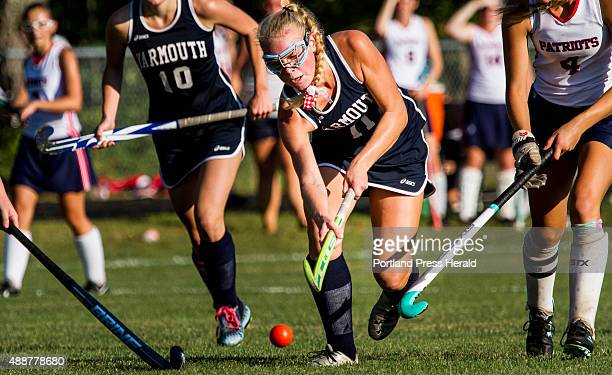 Yarmouth junior Eliza Lunt drives toward the goal Wednesday at GrayNew Gloucester High School
