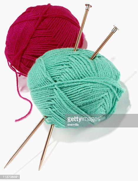 Yarn and Knitting Needles cut out on white