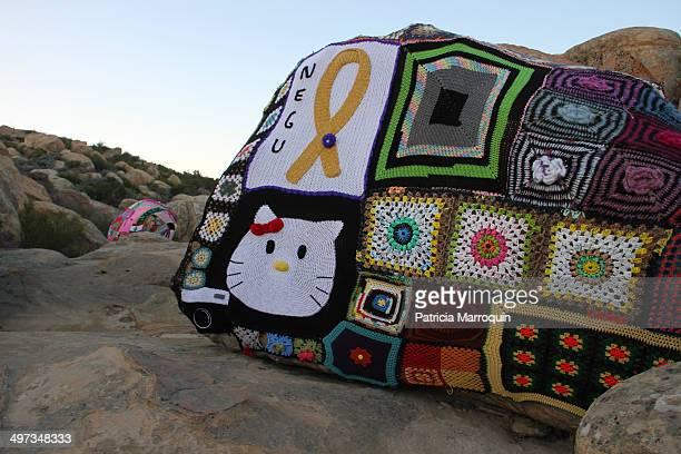Yarn bomb at Lizard's Mouth Santa Barbara California