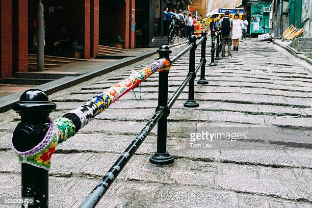 yarn bombed - central stock pictures, royalty-free photos & images
