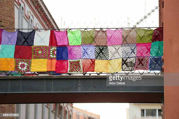 yarn bombing - maresme stock photos and pictures