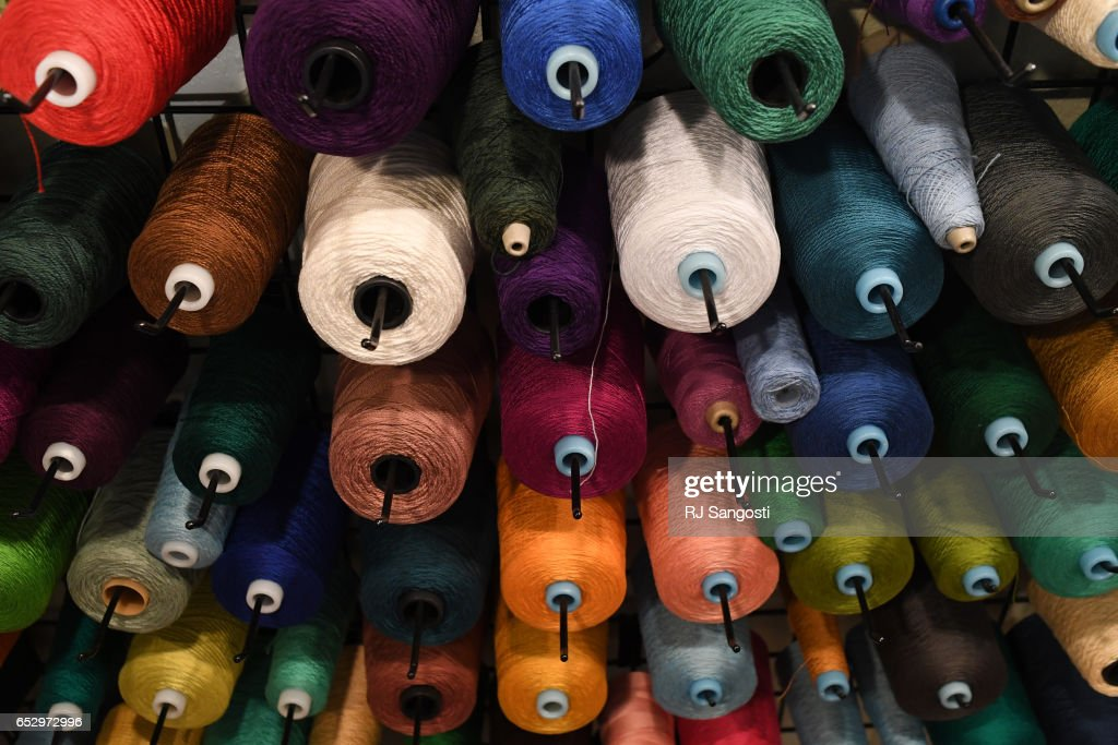 Yarn hangs from the wall in Karen Kinyon's home studio, in Wellington, where she creates handmade alpaca garments and teaches classes on the art of alpacas and their fibers, March 13, 2017. Kinyon will join others at the Alpaca Owners Association National Show later this week in Denver.