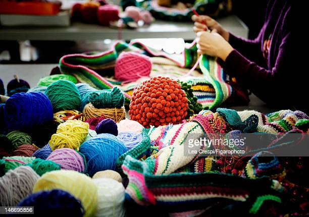 Yarn in artist Joana Vasconcelos's studio is photographed for Madame Figaro on April 17 2012 in Lisbon Portugal Figaro ID 103726014