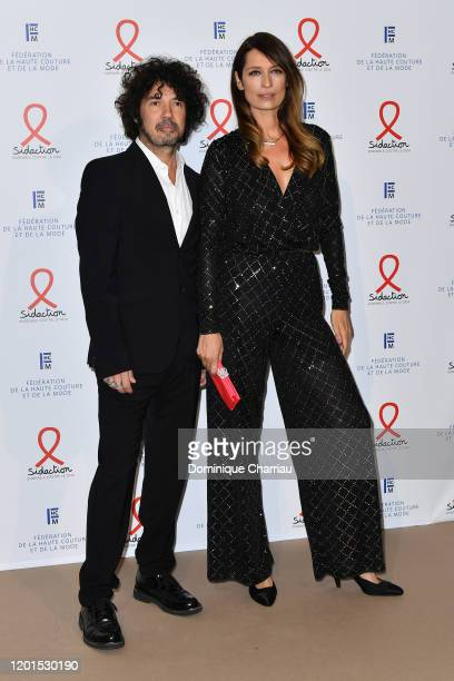 Yarol Poupaud and Caroline de Maigret attend Sidaction Gala Dinner 2020 At Pavillon Cambon on January 23 2020 in Paris France
