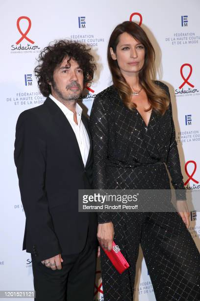 Yarol Poupaud and Caroline de Maigret attends the Sidaction Gala Dinner 2020 at Pavillon Cambon on January 23 2020 in Paris France