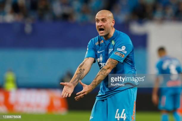 Yaroslav Rakitskiy of Zenit reacts during the Russian Premier League match between FC Zenit Saint Petersburg and FC Sochi on October 3, 2021 at...