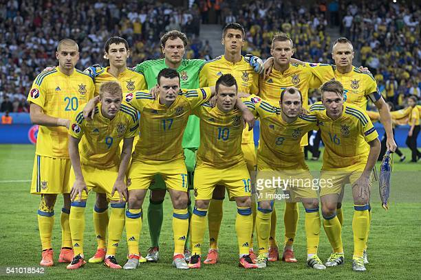 Yaroslav Rakitskyi of Ukraine Taras Stepanenko of Ukraine goalkeeper Andriy Pyatov of Ukraine Yevhen Khacheridi of Ukraine Andriy Yarmolenko of...