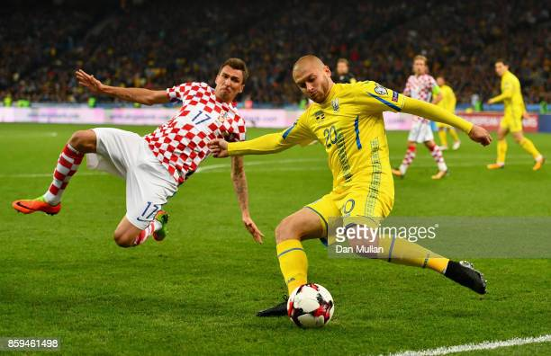 Yaroslav Rakyrskyi of Ukraine is blocked by Mario Mandzukic of Croatia during the FIFA 2018 World Cup Group I Qualifier between Ukraine and Croatia...