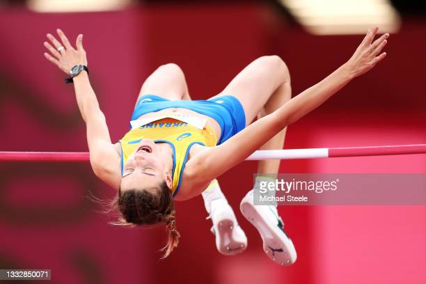 Yaroslava Mahuchikh of Team Ukraine competes in the Women's High Jump Final on day fifteen of the Tokyo 2020 Olympic Games at Olympic Stadium on...