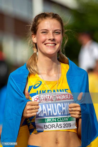 Yaroslava Mahuchikh of Ukraine celebrates after winning High Jump Women Final on July 20, 2019 in Boras, Sweden.