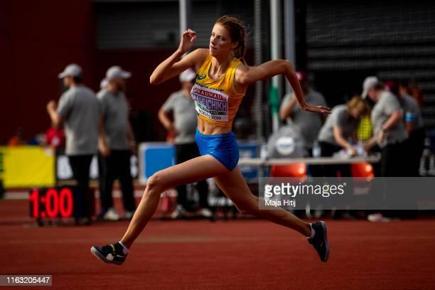 Yaroslava Mahuchikh of Ukraine competes during High Jump Women Final on July 20, 2019 in Boras, Sweden.