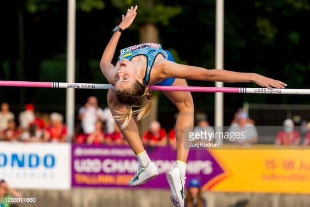 Yaroslava Mahuchikh of Ukraine competes during Women's High Jump Final during 2021 European Athletics U23 Championships - Day 3 at at Kadriorg...