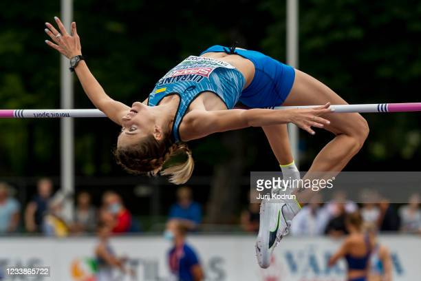 Yaroslava Mahuchikh of Ukraine competes in the high jump during day one of the European Athletics U23 Championships at Kadriorg Stadium on July 8,...