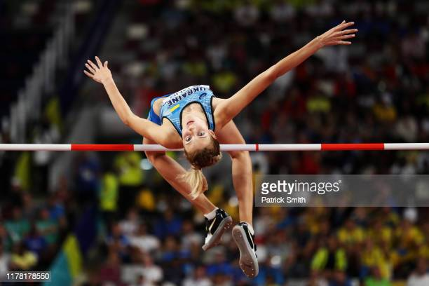 Yaroslava Mahuchikh of Ukraine competes in the Women's High Jump final during day four of 17th IAAF World Athletics Championships Doha 2019 at...