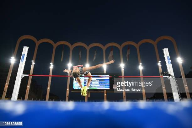 Yaroslava Mahuchikh of Ukraine competes in the Women's High Jump during the Herculis EBS Monaco 2020 Diamond League meeting at Stade Louis II on...