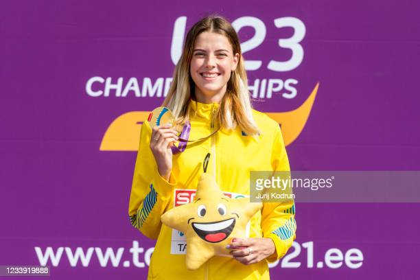 Yaroslava Mahuchikh of Ukraine poses with her gold medal after Women's High Jump Final during 2021 European Athletics U23 Championships - Day 4 at at...