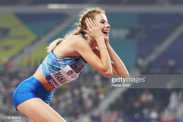 Yaroslava Mahuchikh of Ukraine reacts in the Women's High Jump final during day four of 17th IAAF World Athletics Championships Doha 2019 at Khalifa...