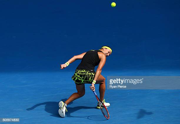 Yaroslava Shvedova of Kazakhsta plays a backhand in her second round match against Madison Keys of the United States during day four of the 2016...
