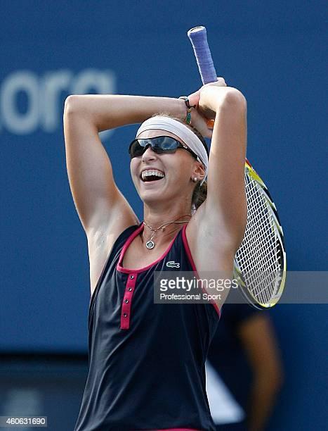 Yaroslava Shvedova of Kazakhstan celebrates defeating Jelena Jankovic of Serbia during day four of the 2009 US Open at the USTA Billie Jean King...
