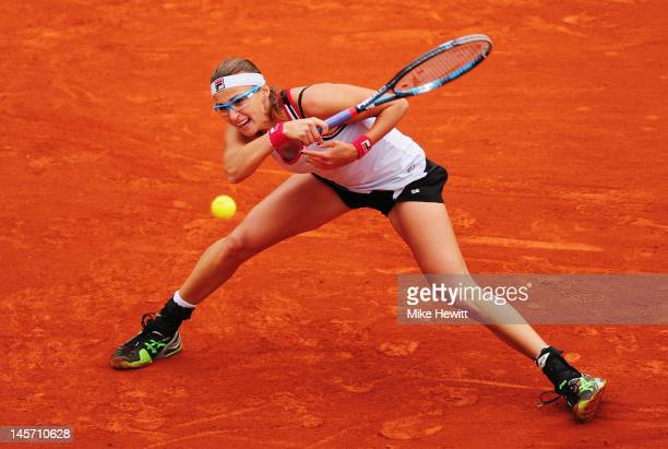Yaroslava Shvedova of Kazakhstan plays a forehand in her women's singles fourth round match against Na Li of China during day 9 of the French Open at...