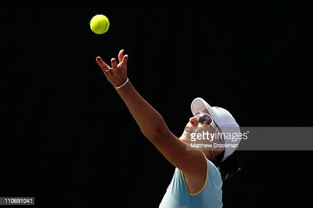 Yaroslava Shvedova of Kazakhstan serves against Sara Errani of Italy during the Sony Ericsson Open at Crandon Park Tennis Center on March 23, 2011 in...