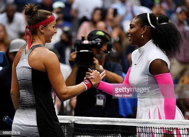 Yaroslava Shvedova of Kazakhstan shakes hands after losing to Serena Williams of the United States during her fourth round Women's Singles match on...