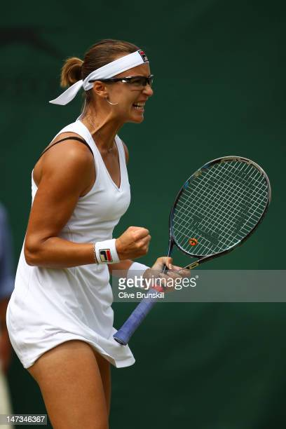 Yaroslava Shvedova of Russia reacts during her Ladies' Singles second round match against Kiki Bertens of the Netherlands on day four of the...