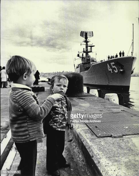 Yarra to Join ANZUK Forces Left to right The two sons of leading Seaman Colin Dowd of Seven Hills Adrian and Scott watch wave and cry as the their...