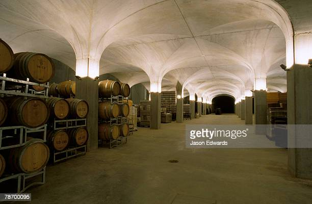 Wine barrels stacked in a spectacular lit cellar vault.