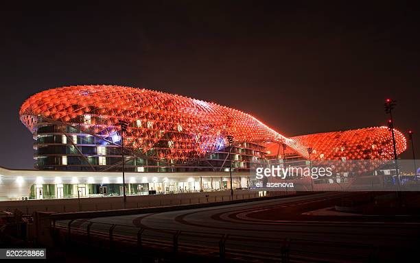 yas island viceroy hotel at night - national landmark stock pictures, royalty-free photos & images