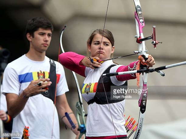Yasemin Anagoz of Turkey shoots during the Mixed Recurve Bronze medal team match at the European Archery Championship on May 29 2016 in Nottingham...