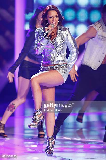 Yasemin Kocak performs at the rehearsal for the 1st 'Deutschland sucht den Superstar' show at Coloneum on March 29 2014 in Cologne Germany