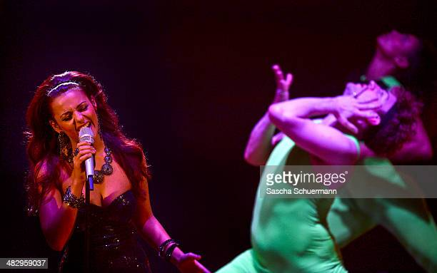 Yasemin Kocak performs at the rehearsal for the 2nd 'Deutschland sucht den Superstar' show at Coloneum on April 5 2014 in Cologne Germany