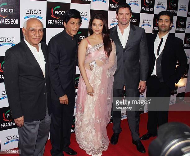 Yash Chopra, Shah Rukh Khan, Aishwarya Rai Bachchan, Hugh Jackman and Karan Johar on the final day of FICCI-Frames 2011 seminar at Renaissance in...