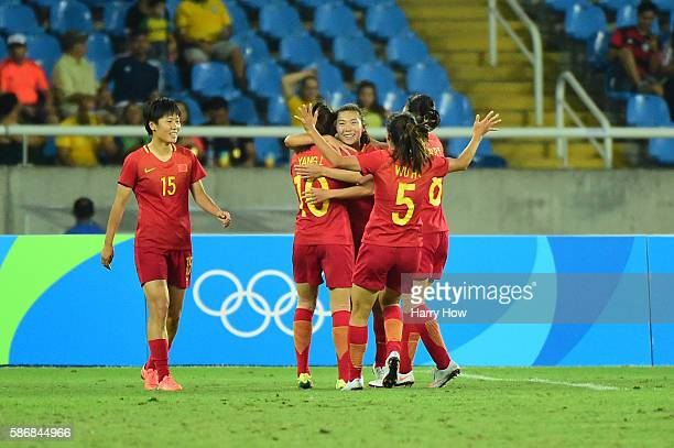 Yasha Gu of China celebrates her goal during the Women's Group E first round match between South Africa and China PR on Day 1 of the Rio 2016 Olympic...