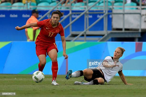 Yasha Gu of China is challenged by Leonie Maier of Germany during the Women's Football Quarterfinal match between China and Germany on Day 7 of the...