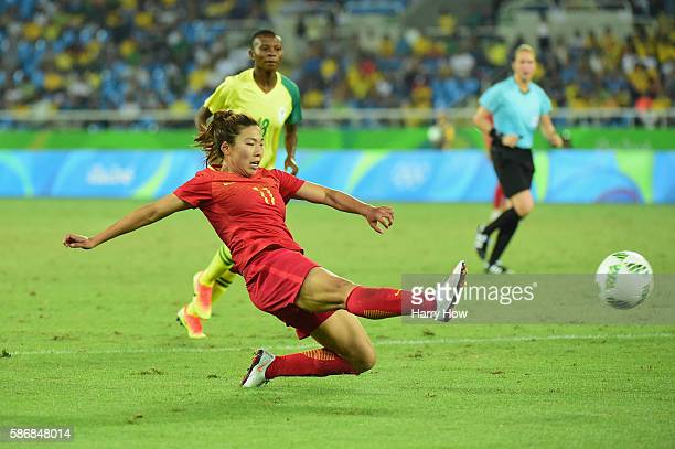 Yasha Gu of China shoots at goal during the Women's Group E first round match between South Africa and China PR on Day 1 of the Rio 2016 Olympic...
