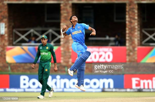 Yashasvi Jaiswal of India celebrates hitting a century during the ICC U19 Cricket World Cup Super League Semi-Final match between India and Pakistan...