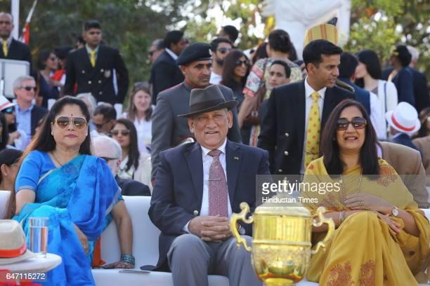 Yashodhara Raje Scindia with Army Chief General Bipin Rawat and Madhulika Rawat during HH Maharaja Jiwaji Rao Scindia Gold Cup 2017 a charity polo...