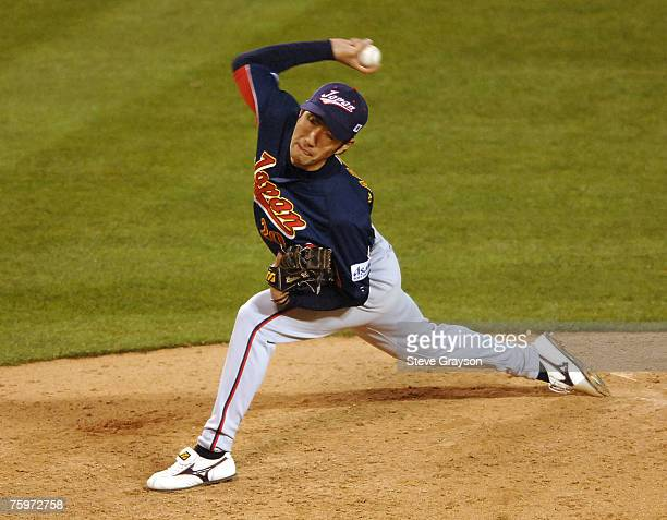 Yashuhiko Yabuta of Japan in action during their contest against Mexico in the 2006 World Baseball Classic against Mexico at Angel Stadium in Anaheim...