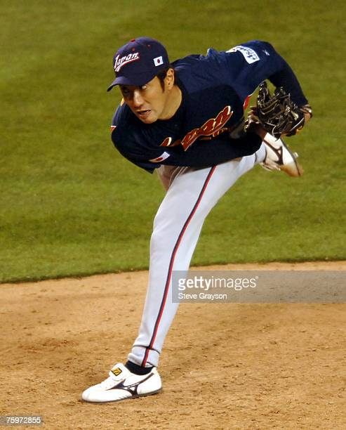 Yashuhiko Yabuta of Japan in action during their contest against Mexico in the 2006 World Baseball Classic at Angel Stadium in Anaheim California...