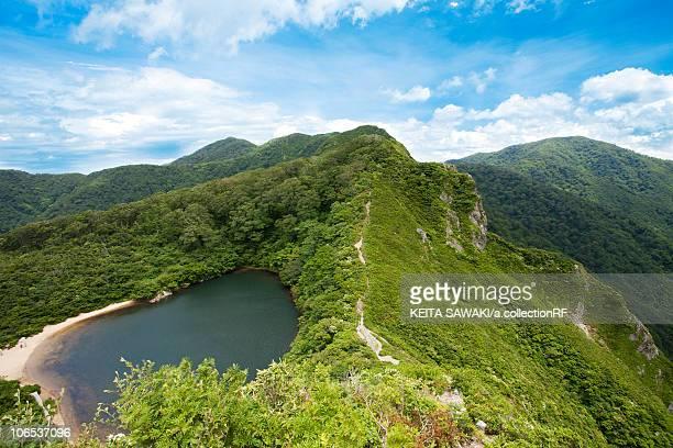 yashyagaike pond, fukui prefecture, honshu, japan - fukui prefecture stock photos and pictures