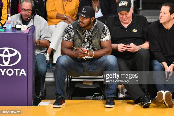 Yasiel Puig attends a basketball game between the Los Angeles Lakers and the Dallas Mavericks at Staples Center on October 31 2018 in Los Angeles...