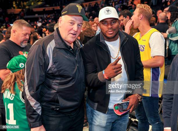 Yasiel Puig attends a basketball game between the Los Angeles Lakers and the Boston Celtics at Staples Center on January 23 2018 in Los Angeles...