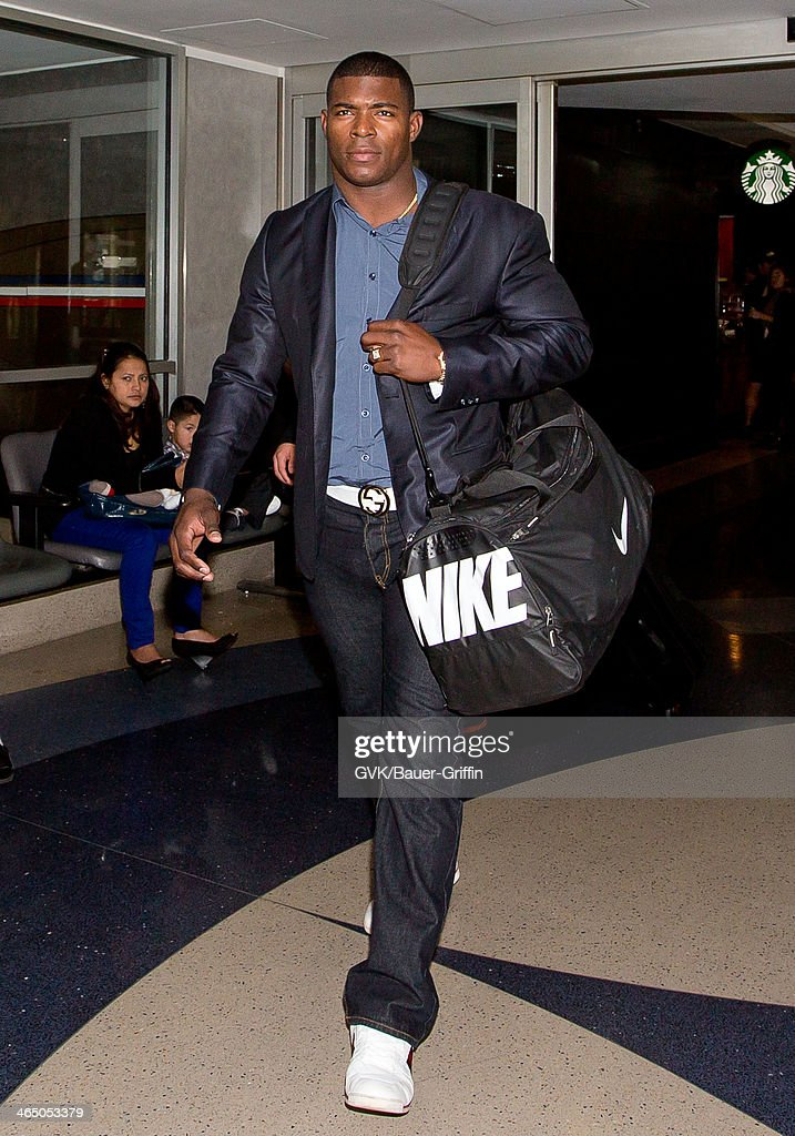 Yasiel Puig is seen at LAX airport on January 25, 2014 in Los Angeles, California.