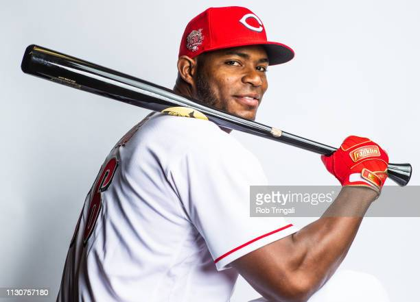 Yasiel Puig of the Cincinnati Reds poses for a portrait at the Cincinnati Reds Player Development Complex on February 19 2019 in Goodyear Arizona