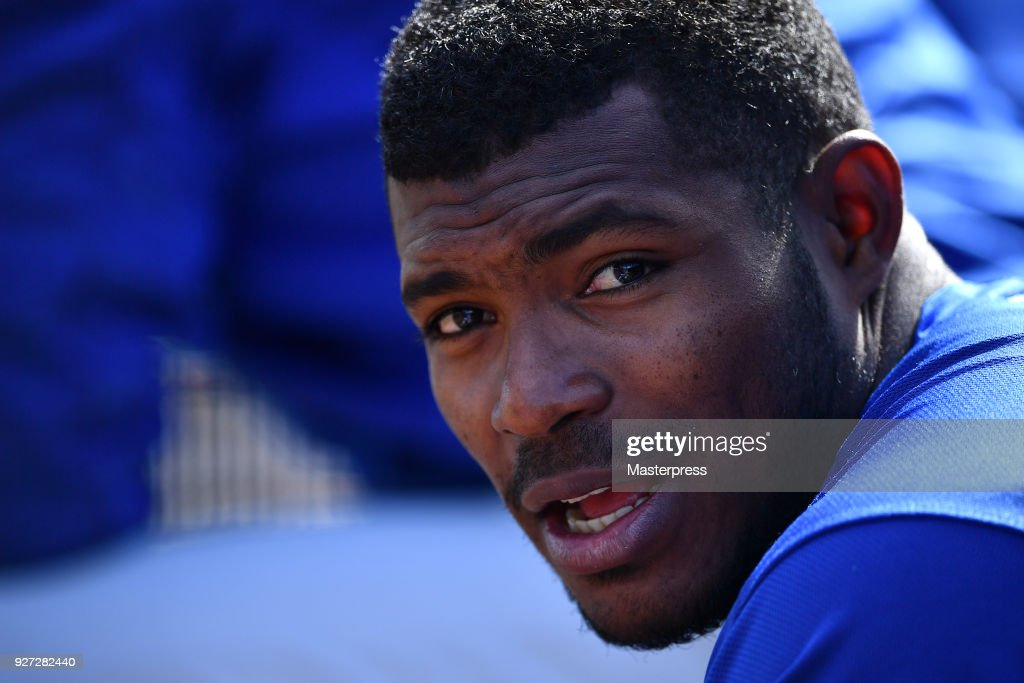 Yasiel Puig of the Los Angeles Dodgers is seen during the game against San Francisco Giants on March 4, 2018 in Scottsdale, Arizona.