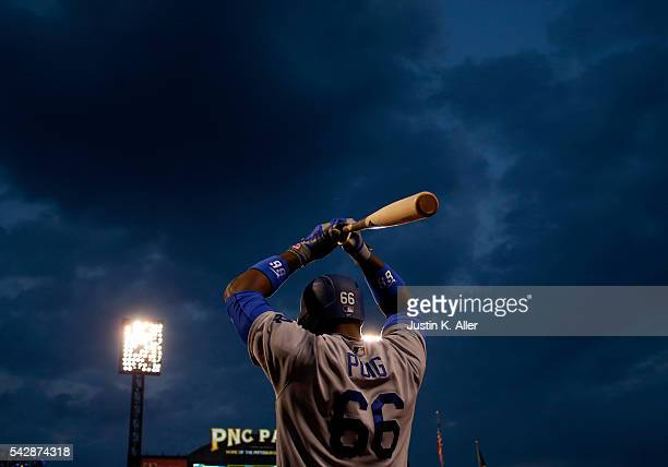Yasiel Puig of the Los Angeles Dodgers on deck in the sixth inning during the game against the Pittsburgh Pirates at PNC Park on June 24 2016 in...