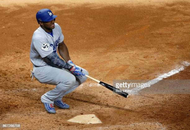 Yasiel Puig of the Los Angeles Dodgers reacts after striking out during the ninth inning against the Houston Astros in game three of the 2017 World...